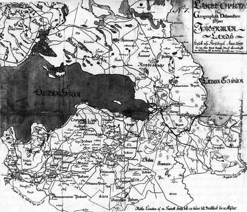 Карта Ингерманландии 1699 г. По материалам К.-М. Стюарта. Военный архив. Стокгольм.
